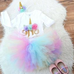 US Baby Girl Unicorn Crown 1st First Birthday Princess Dress