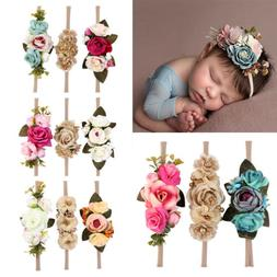 US Beauty 3Pcs Baby Girls Infant Toddler Flower Headband Hai