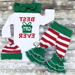 US Christmas Newborn Baby Girl Xmas Long Sleeve Romper Strip