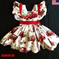 US Christmas Toddler Kids Baby Girl Festival Xmas Party Dres