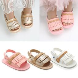 US Cute Toddler Baby Girl Soft Sole  Tassels Summer Slippers