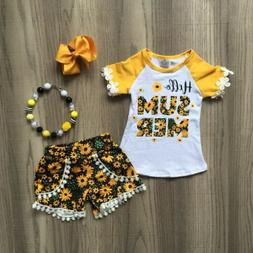 US Fashion Kids Baby Girl Clothes Sunflower Lace Tops T-Shir