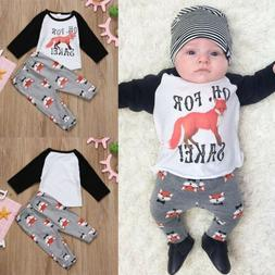 US Infant Baby Boy Girl Outfit Fox Tops Pants Set 2pcs Toddl
