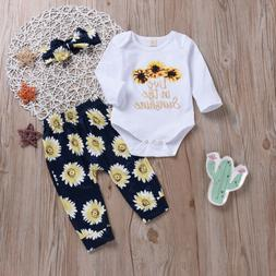 US Infant Baby Girl Long Sleeve Sunflower Tops Romper+Long P