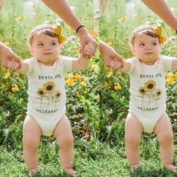US Infant Baby Girl Romper Jumpsuit Bodysuit You Are My Sunf