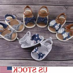US Infant Baby Girl Soft Sole Crib Shoes Newborn Princess Bo