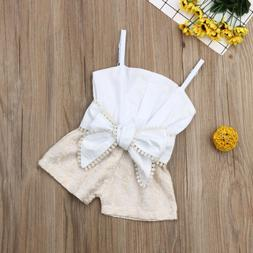 US Infant Kids Baby Girl Lace Sling Openwork Bow Rompers Top