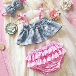 US Infant Newborn Baby Girl Flamingo Dress Top Lace Shorts 3