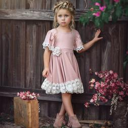 US Kid Baby Girl Short Sleeve Dress Floral Lace Party Dress