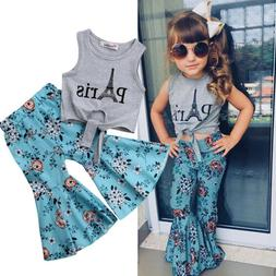 US Kid Baby Girl Vest Top T-shirt+Wide Leg Flared Bell Botto