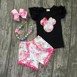 US Kid Baby Girls Minnie Mouse Clothes T-shirt Tops+ Floral