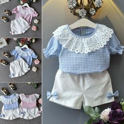 US Kid Toddler Baby Girl Outfits Clothes Short Sleeve Tops+S