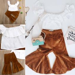 US Kids Baby Girl Clothes Solid Top T shirt+Flares Pants Bel