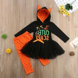 US Kids Baby Girl Halloween Clothes Long Sleeve Top Dress Pa