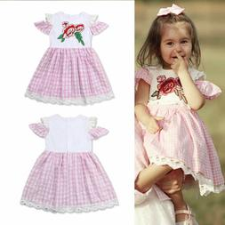US Kids Baby Girl Lace Flower Short Sleeve Plaid Dress Cloth