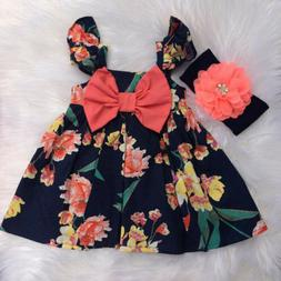 US Kids Baby Girl Newborn Clothes Vest Tops Floral Bow Short