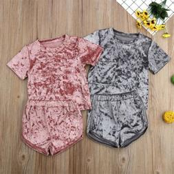 US Kids Toddler Baby Girl Outfit Clothes Short Sleeve Tops R