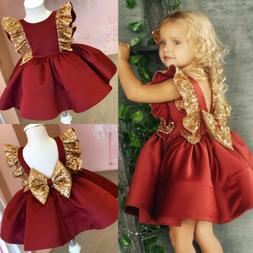 US Lovely Toddler Baby Girl Sequin Bowknot Dress Wedding Par