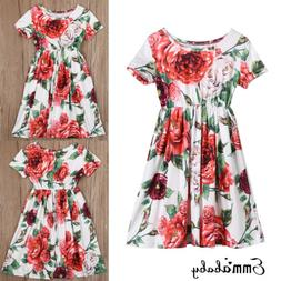 US Mother and Daughter Casual Boho Floral Maxi Dress Mommy&M
