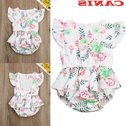 US New Infant Kids Baby Girls One Piece Summer Jumpsuit Romp
