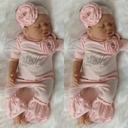 US Newborn Baby Girl 3D Flowers Romper Bodysuit Jumpsuit Hea