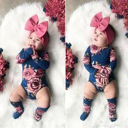 US Baby Newborn Girl Flower Romper Bodysuit Jumpsuit Leg War