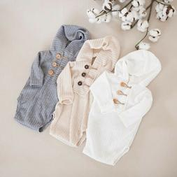 US Newborn Baby Girl Boy Long Sleeve Hooded One-Pieces Rompe