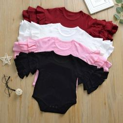 US Newborn Baby Girl Clothes Ruffle Long Sleeve Romper Jumps