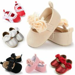 US Newborn Baby Girl Crib Shoes PU Leather Soft Sole Infant