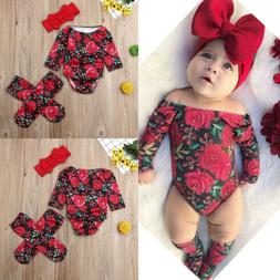 US Newborn Baby Girl Floral Clothes Long Sleeve Romper Socks