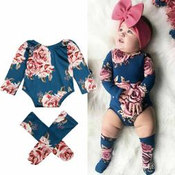 US Newborn Baby Girl Floral Romper Jumpsuit+Leg Warmers Outf