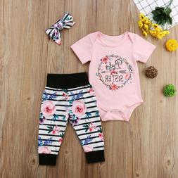 US Newborn Baby Girl Floral Tops Romper Striped Pants Cotton