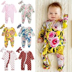 US Newborn Baby Girl Flower Clothes Long Sleeve Romper Jumps