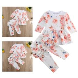 US Newborn Baby Girl Infant Clothes Ruffle Tops Pants Kids O