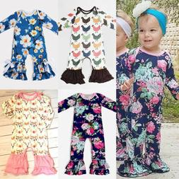 US Newborn Baby Girl Long Sleeve Flower Ruffle Romper Jumpsu