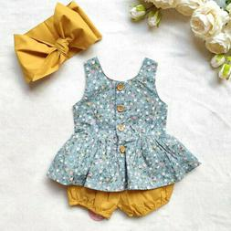 US Toddler Baby Girl Summer Clothes Floral Tops Dress +Short