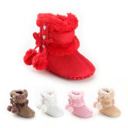 US Newborn Baby Girl Toddler Fur Boots Soft Sole Crib Shoes