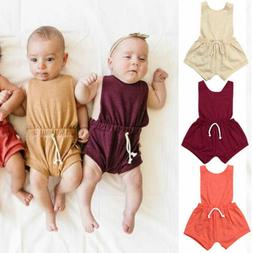 US Newborn Baby Girls Cotton Romper One-piece Outfits Sunsui