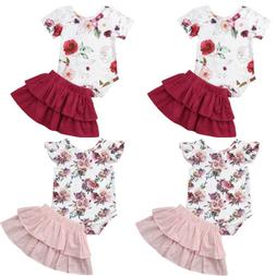 US Newborn Infant Baby Girl 2PCS Outfit Clothes Set Romper B