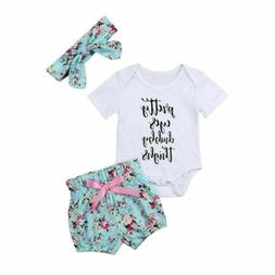 US Newborn Infant Baby Girl Outfits Clothes Romper Jumpsuit