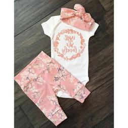 US Newborn Infant Baby Girl Summer Clothes Cotton Romper+Flo