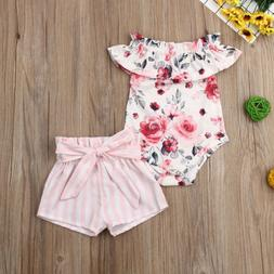 US Newborn Kid Baby Girl Clothes Ruffle Romper Floral Shorts