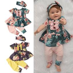 US Newborn Kid Baby Girl Ruffled Outfit Clothes Dress Tops F