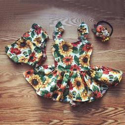 US Newborn Kids Baby Girl Flower Outfit Clothes Top Dresses+