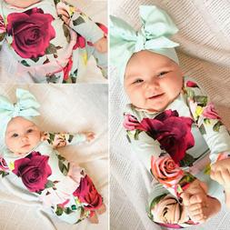 US  Newborn Toddler Kids Baby Girl Outfit Clothes T-shirts+F