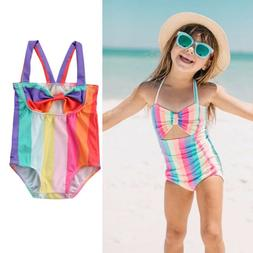 US Rainbow Toddler Kid Baby Girl Swimsuit Bikini Swimwear Ba