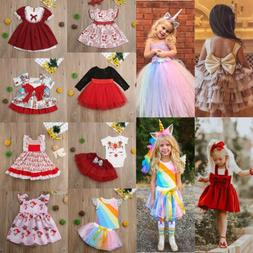 US Toddler Kid Baby Girl Clothes Princess Party Prom Bowknot