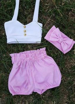 US Stock 3PCS Kids Baby Girl Outfit Summer T-shirt Tops Shor