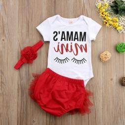 455467d5374b US STOCK 3pcs Newborn Infant Baby Girl Outfits Clothes Rompe