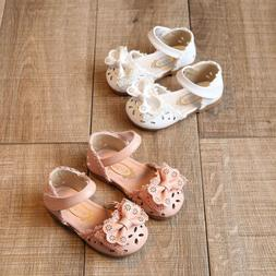US STOCK Baby Girl Shoes Anti-slip Lace Floral Toddler Infan
